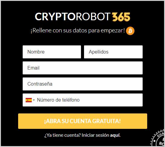 como registrase en Crypto Robot 365
