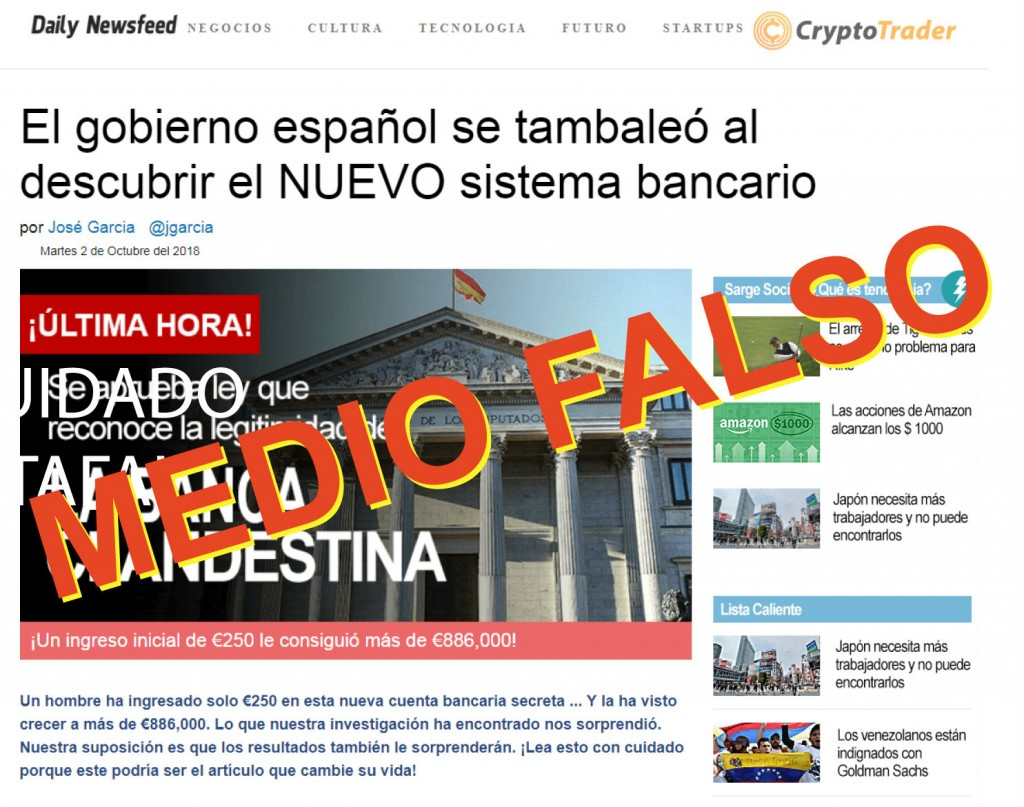 Captura del Daily Newsfeed, un medio falso inventado sobre Crypto Trader