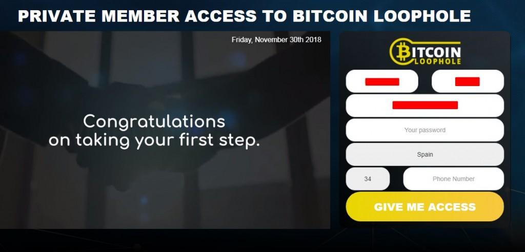 bitcoin loophole formulario de registro