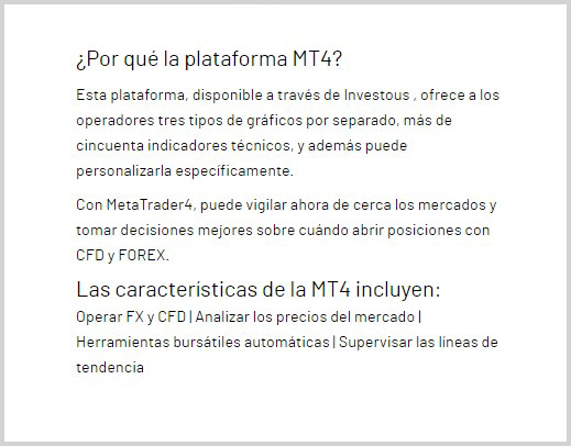 MetaTrader 4 trading disponible en Investous
