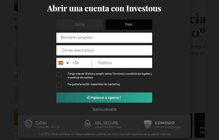 Investous cuenta demo