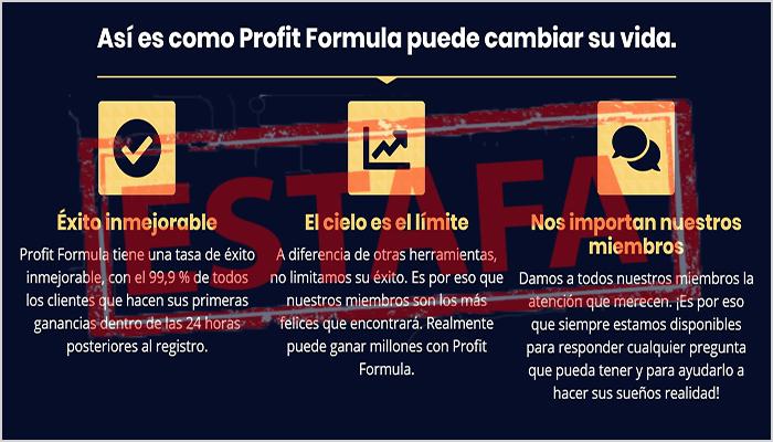 El sistema de profit formula no funiona