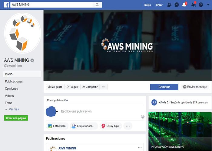 perfil de facebook de aws mining
