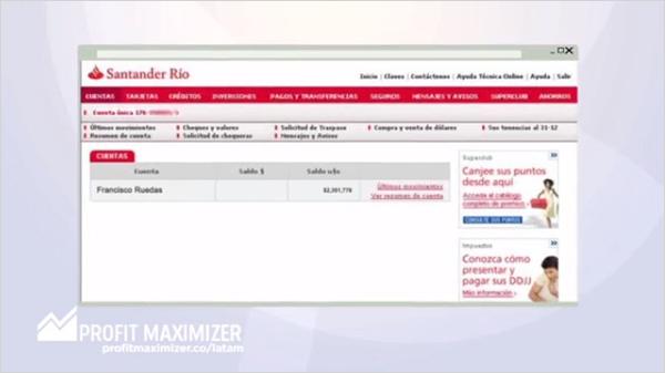 La app muestra capturas de pantalla de una cuenta corriente para dar una sensación de credibilidad