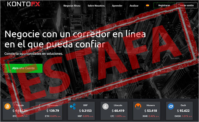 El sistema Crypto Crash Fortune trabaja con un broker no regulado llamado Konto FX