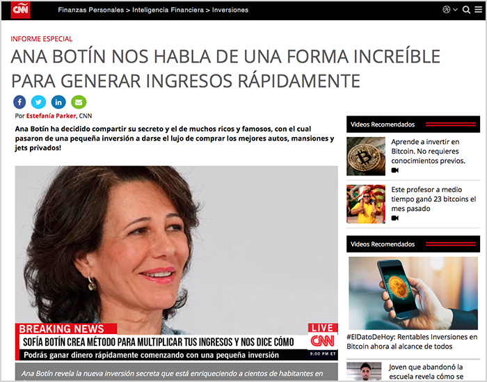 Fake new de Ana Botin sobre sus beneficios en Crypto Trader