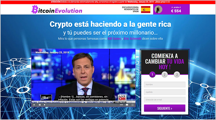 soporte fraudulento en Bitcoin Evolution